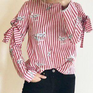 ZARA | Red and White striped bird print top